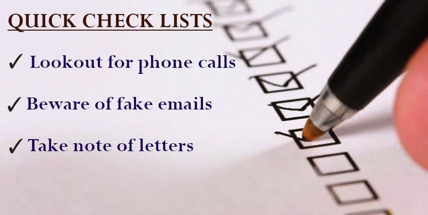 IRS Scam Checklist